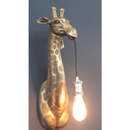 Wandlamp Giraffe antiek brons + ledlamp cadeau