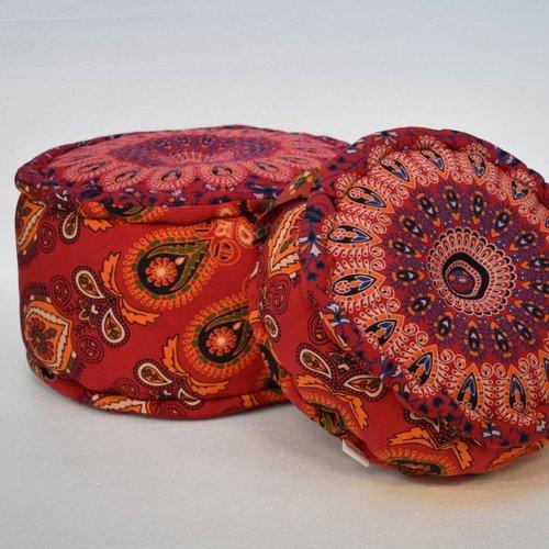 Oosterse poef Mandala Yoga rood in 2 maten
