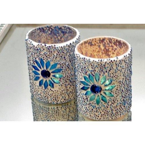 Waxinehouder cilinder - mozaïek & kralen - blauw