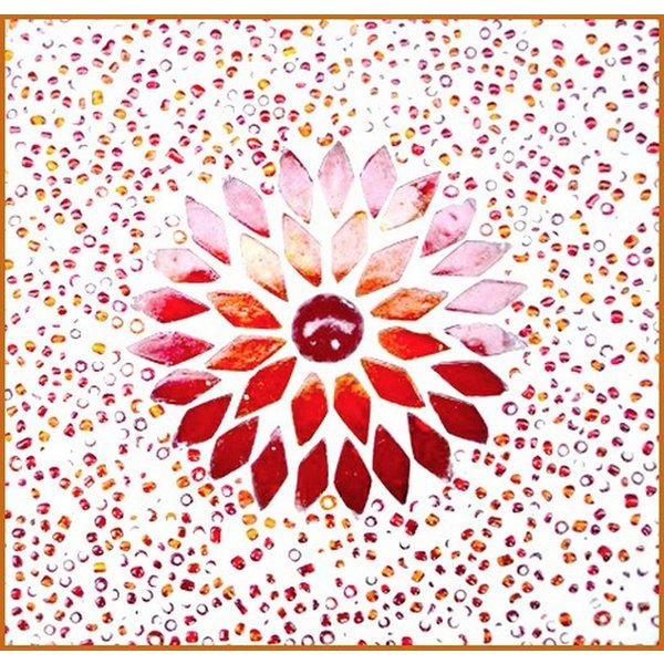 Vloerlamp 120 rood/oranje mozaiek