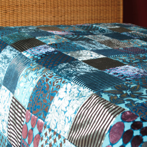 Bedsprei Patchwork Oosters Turquoise in 2 maten