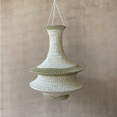 Hanglamp Omari Gehaakt Katoen Large Wit/Goud