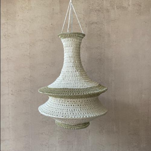 Hanglamp Sadiki Gehaakt Katoen Large Wit/Goud