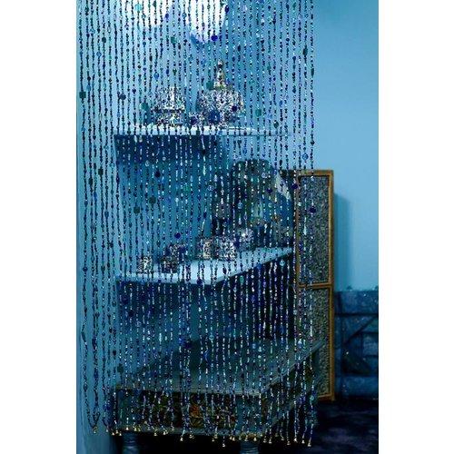 Gordijn Aneesha blauw + embrasse cadeau - maatwerk mogelijk