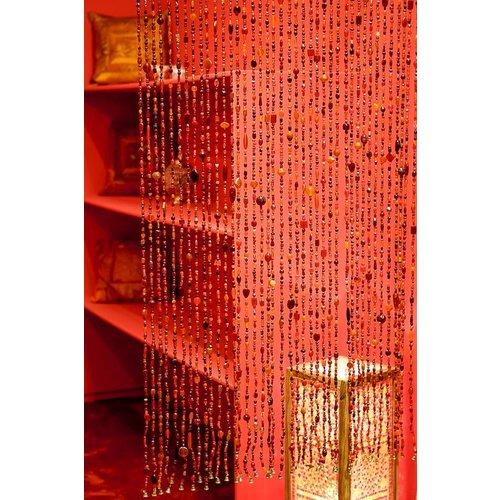 Gordijn Aneesha rood/oranje + embrasse cadeau - maatwerk mogelijk