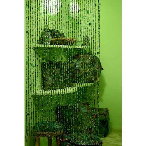 Gordijn Aneesha groen + embrasse cadeau - maatwerk mogelijk