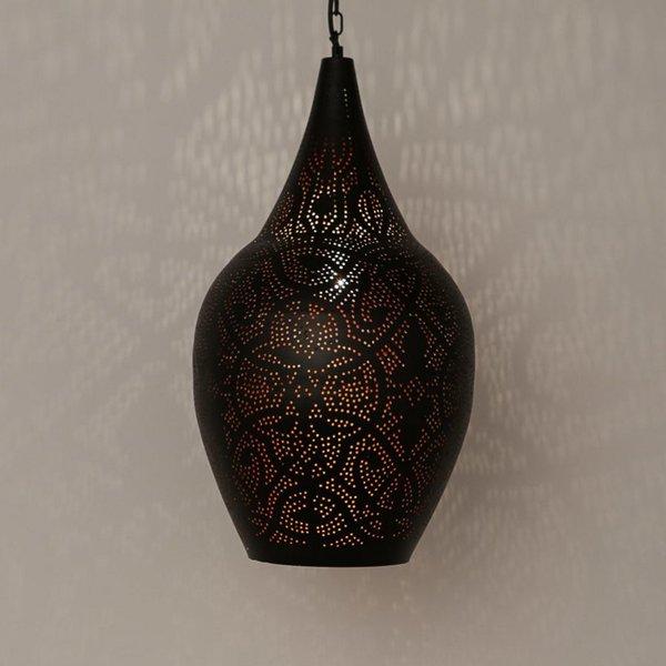 Filigrain hanglamp vaas zwart/koper