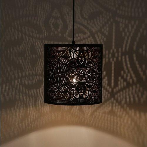 Hanglamp Ameera zwart/goud cilinder