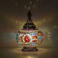 Tafellamp pompoen gekleurd mozaiek
