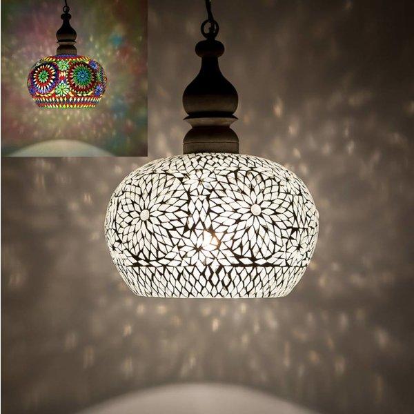 Hanglamp open gekleurd mozaiek met teakhout