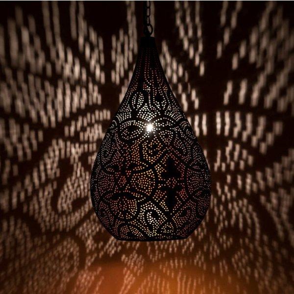Filigrain hanglamp zwart/koper