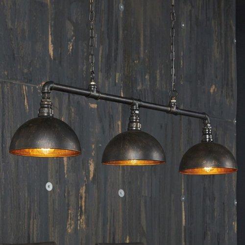 Industrieel hanglamp 3L halfronde kap + 3 led gloeilampen cadeau