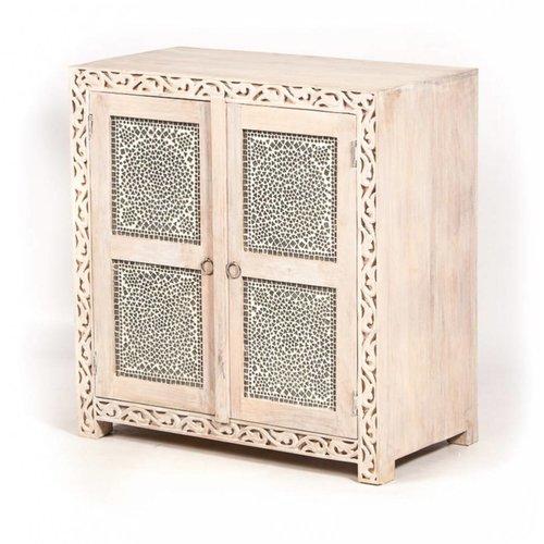 Dressoir/Tv-kast transparant mozaïek en houtsnijwerk