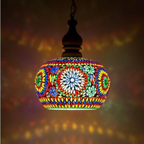 Hanglamp open gekleurd mozaïek in 2 diameters
