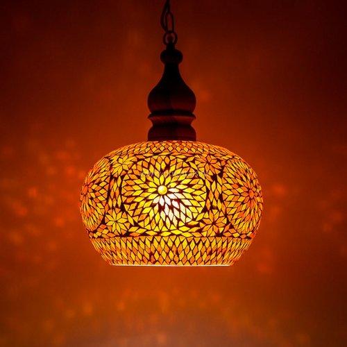 Hanglamp open rood/oranje mozaiek