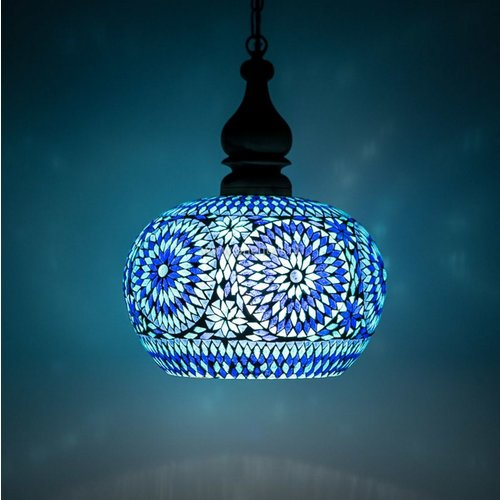 Hanglamp open blauw mozaiek in 2 diameters