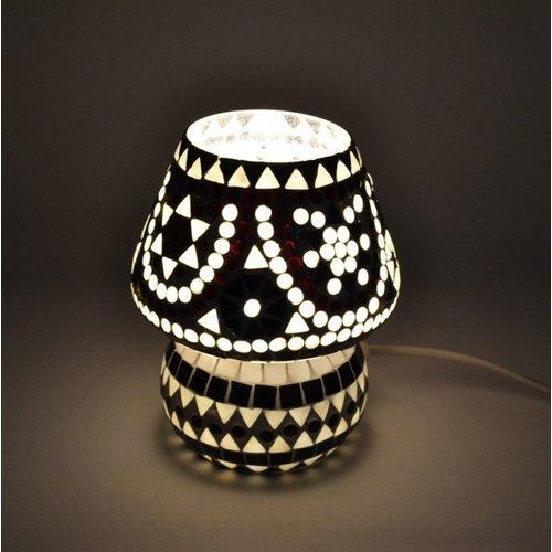 Tafellamp pad zwart/wit mozaiek