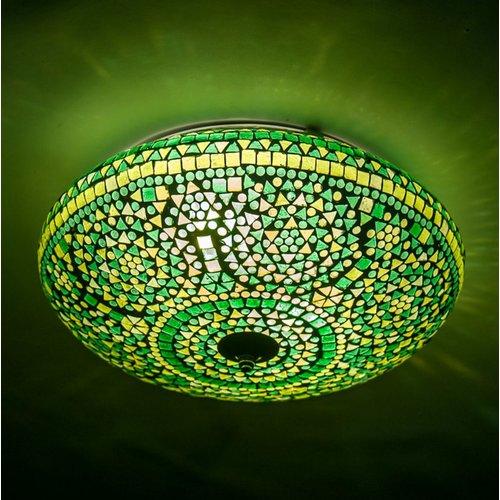 Plafondlamp groen mozaiek