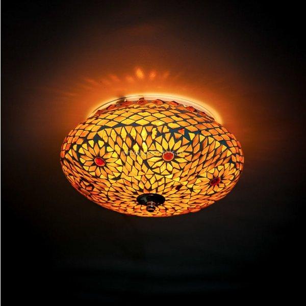 Plafondlamp bruin/beige mozaiek