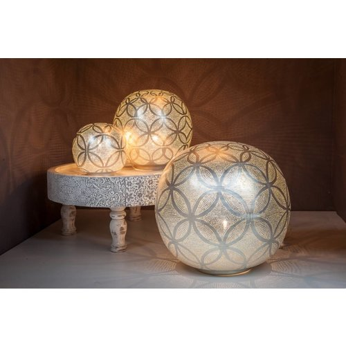 Table Lamp Ball Circles Silver