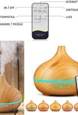 Diffusore Atomizzatore di essenze e aromi ad Ultrasuoni 400ml,Umidificatore con 7 colori LED selezionabili, Purificatore aria per Yoga, Camera da Letto, Soggiorno, Sale Conferenza-Giallo