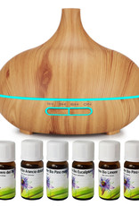 400 ml Diffusor-Kit für ätherische Öle mit Fernbedienung und 6 ätherischen Bio-Ölen. Essentieller Raumduft, professioneller Universal-Aromadiffusor. Elektrischer Luftbefeuchter aus Bambus