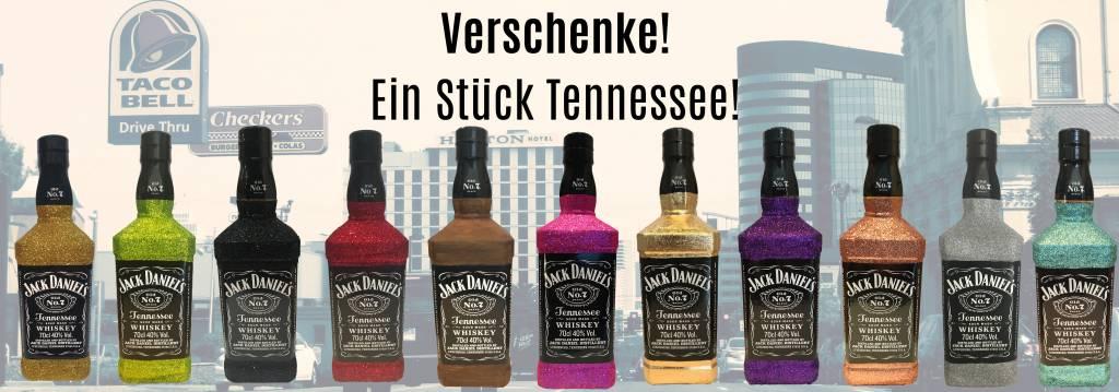 Jack Daniels Old No. 7 Whiskey als Glitzer, Blattgold oder Eisenlook Geschenk
