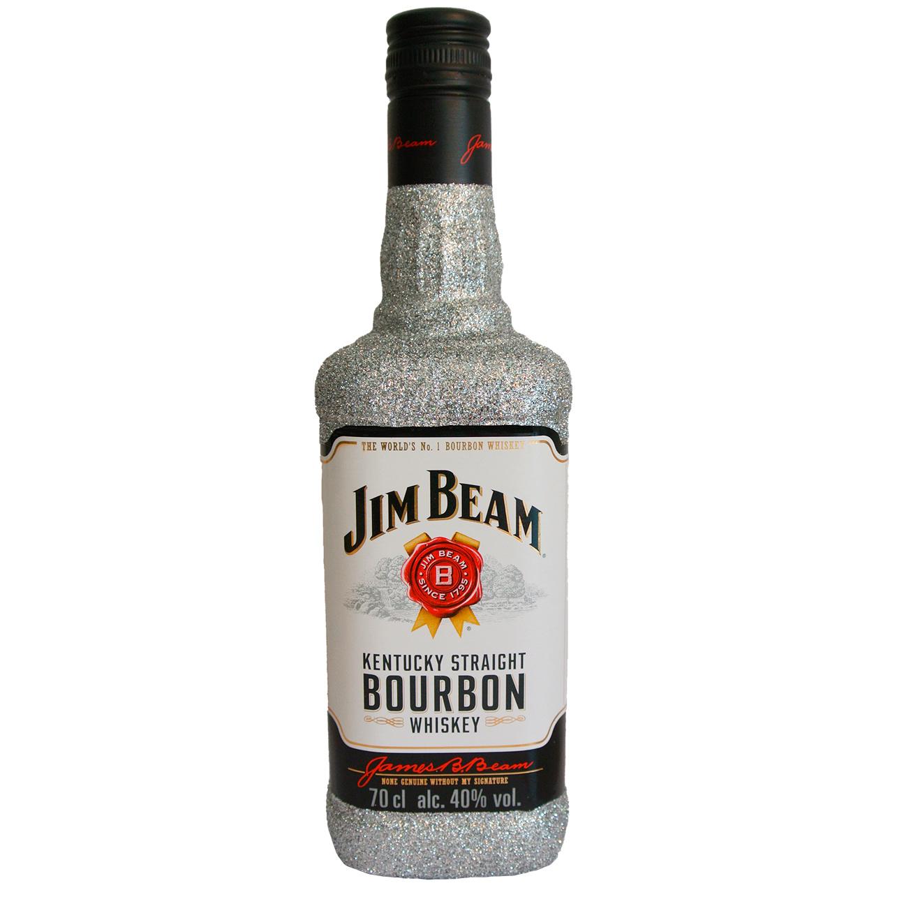 Jim Beam Glitzerflasche silber