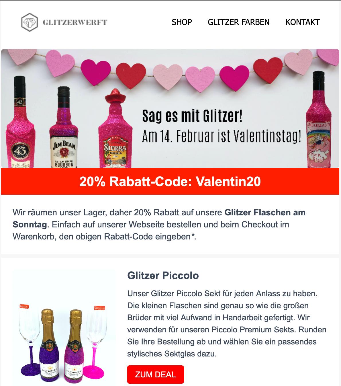 Nur Heute 20% auf ALLES! Valentinskracher unter 10 Euro! 100 Euro Gutschein gewinnen