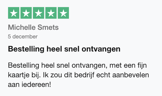 Trustpilot beoordeling 5 sterren SoloBioMooi.nl