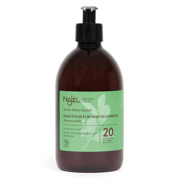 Aleppo Najel BIO vloeibare zeep pompfles 20% laurier 500ml