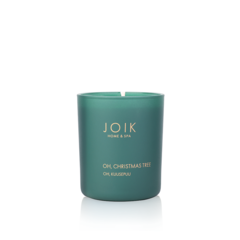 JOIK Vegan Soywax scented candle Oh Christmas tree 145 gr. in groen glas