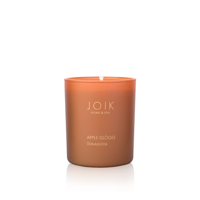JOIK vegan soywax scented candle Apple cider, 145 gr. in lichtbruin glas