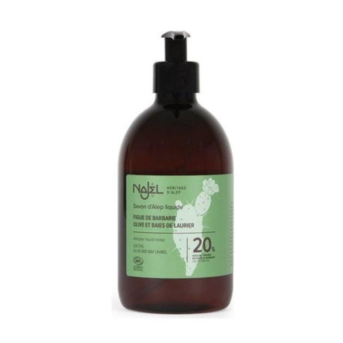 Aleppo Najel BIO vloeibare zeep pompfles 20% cactusolie 500ml