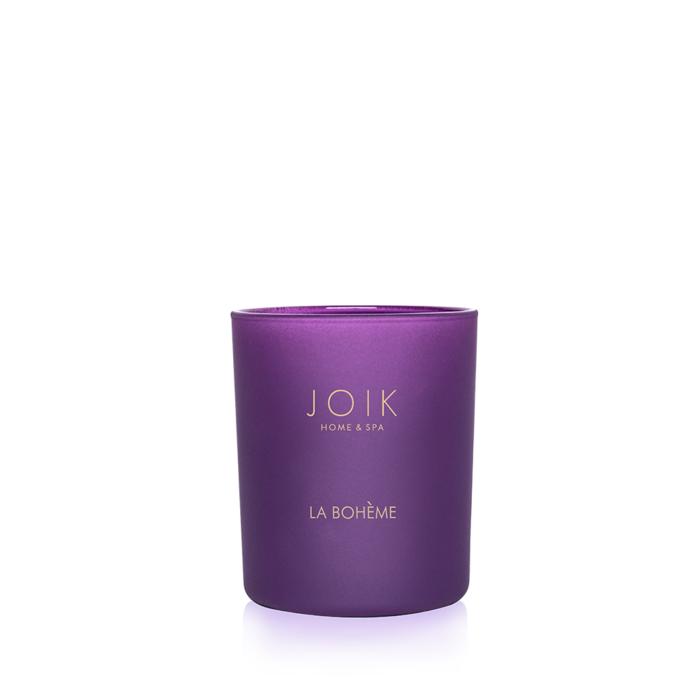 JOIK Vegan koolzaadwas geurkaars La Bohème 150 gr. in gekleurd glas