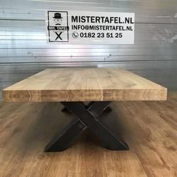 Salontafel eiken hout - X tafelonderstel