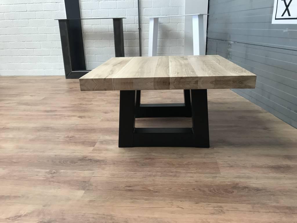 Salontafel eiken hout - Trapezium tafelonderstel