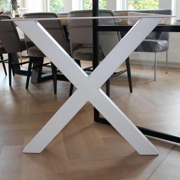 Visgraat eettafel eiken hout - X tafelonderstel