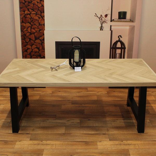 Visgraat eettafel eiken hout - A tafelonderstel