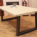 Eettafel eiken hout BOOMSTAM - Trapezium tafelonderstel