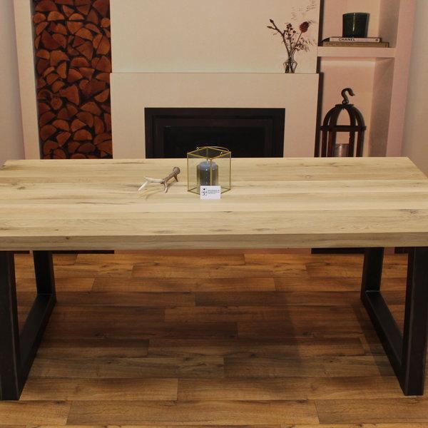 Eettafel eiken hout - Trapezium tafelonderstel