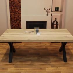 Eettafel eiken hout - X tafelonderstel
