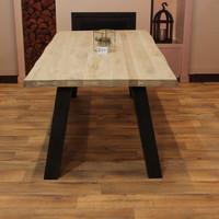Eettafel eiken hout BOOMSTAM - stalen tafelonderstel