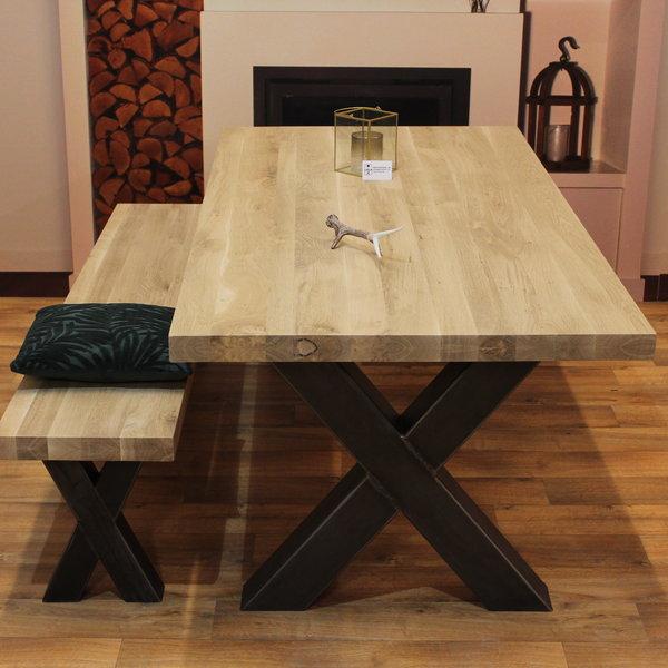 Eetbank eiken hout - X onderstel