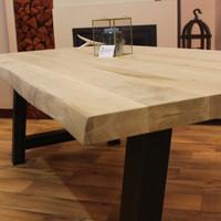 Boomstam tafelblad eiken 2,20 x 1,00 meter 5cm dik (2,5+2,5).