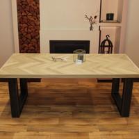 Visgraat eettafel eiken hout - U tafelonderstel