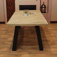 Visgraat eettafel eiken hout - Klassiek tafelonderstel