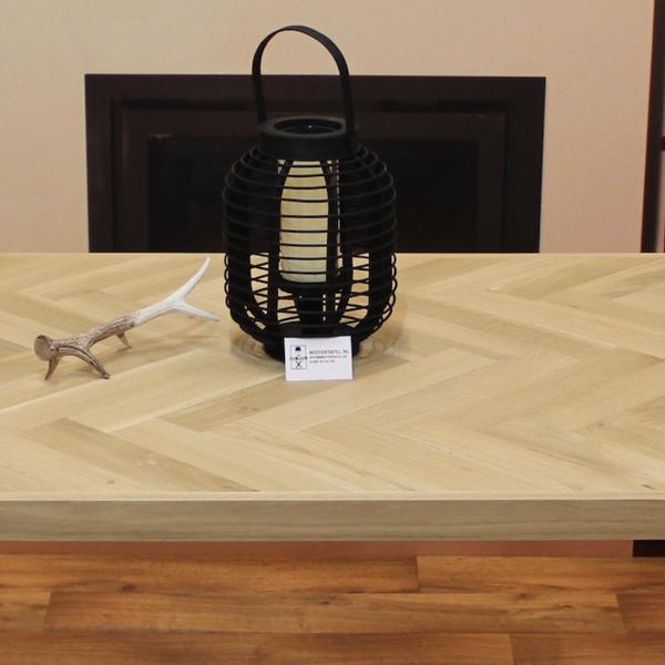 Visgraat tafelblad eiken 2.40 x 1,00 meter 5cm dikke rand