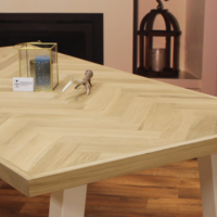 Visgraat tafelblad eiken 1,80 x 0,90 meter 6cm dikke rand