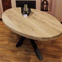 Ovaal tafelblad eiken 2,40 x 1,10 meter 6cm dikke rand